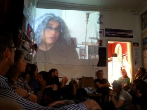 Yasmin on screen in Dunedin